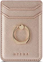 Phone Card Holder with Ring Grip for Back of Phone,Adhesive Stick-on Credit Card Wallet Pocket for iPhone,Android and Smartphones (Rosegold)