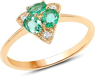 14K Yellow Gold Zambian Emerald and White Diamond Ring (0.50 cttw, I-J Color, I2-I3 Clarity) from Johareez