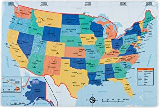 Eat Smart United States PLACEMAT - US Map on Front with Quiz on Back - for Children and Adults