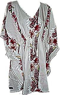 Hawaiian Pink Floral Kaftan Tunic Cover Up Beach Dress Swimwear (M-1X)