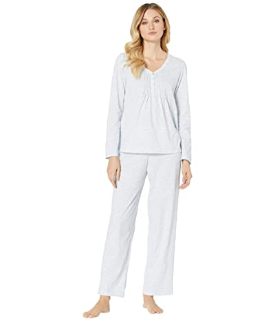 Carole Hochman Soft Jersey Long Pajama Set (Pale Blue Ditsy) Women