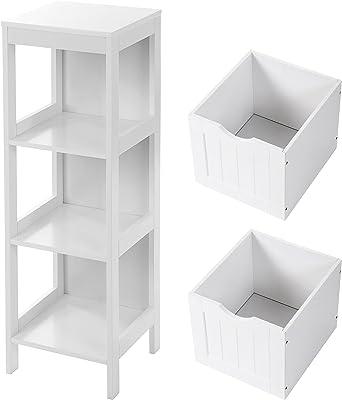 VASAGLE Meuble de Salle de Bain sur Pied Meuble de Rangement Table de Chevet Armoire d'Angle avec 2 tiroirs Blanc BBC42WT