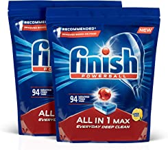 Finish Powerball All In 1 Max Dishwasher Tablets, Lemon, 188 Pack (2x94)