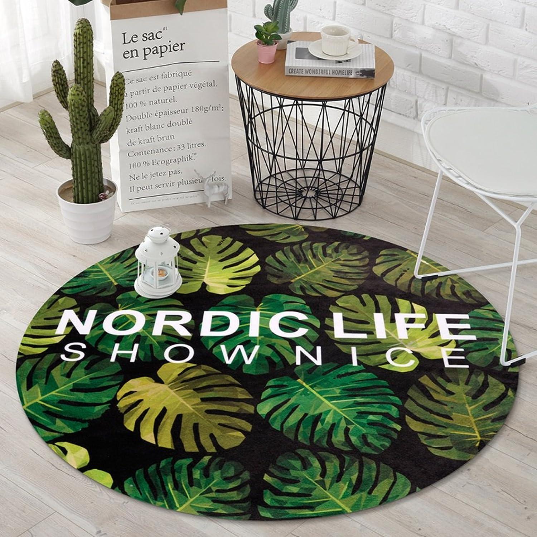 CKH Fashion Plant Nordic Pastoral Round Carpet Bedroom Room Hanging Basket Home Computer Chair Cushion ( Size   Diameter 120cm )