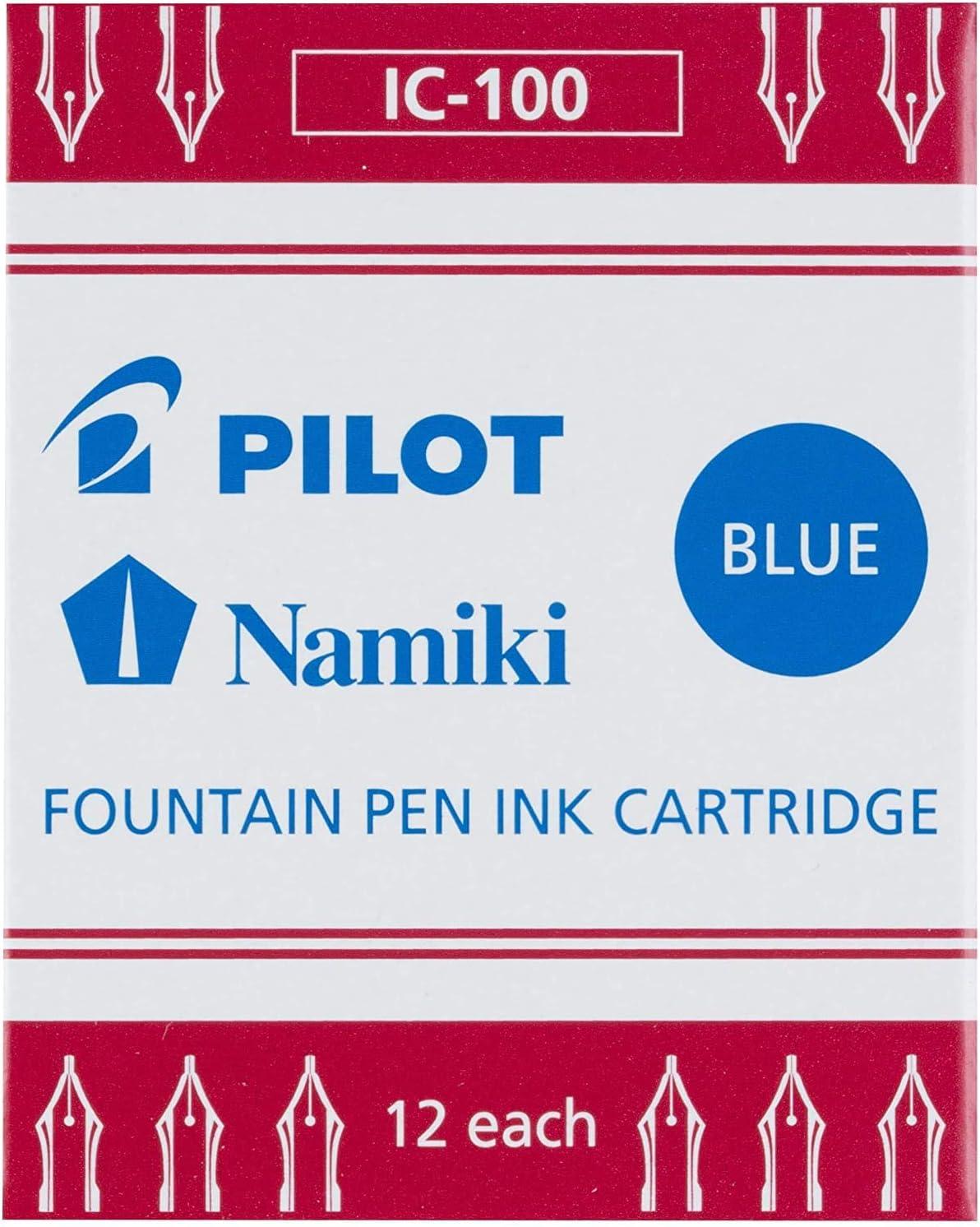 Blue 1 Pack of 12 PILOT Namiki IC100 Fountain Pen Ink Cartridges