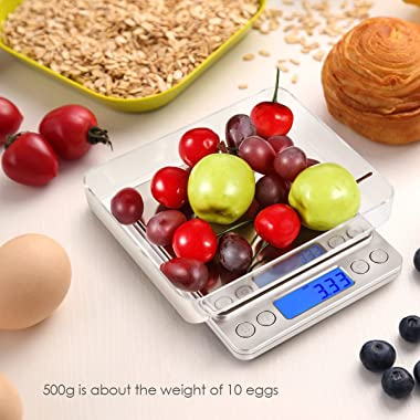 AMIR Digital Kitchen Scale, 500g/0.01g Mini Pocket Jewelry Scale, Cooking Food Scale with Backlit LCD Display, 2 Trays, 6 Uni