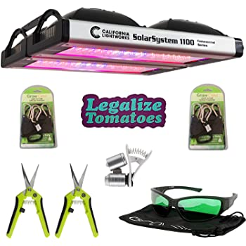 California Lightworks Solar System 1100 Premium Package - Commercial LED Lighting Grow Light Fixture | Accessories Included -LED Glasses, Grow Crew Ratchet Hangers, Legalize Tomatoes Sticker