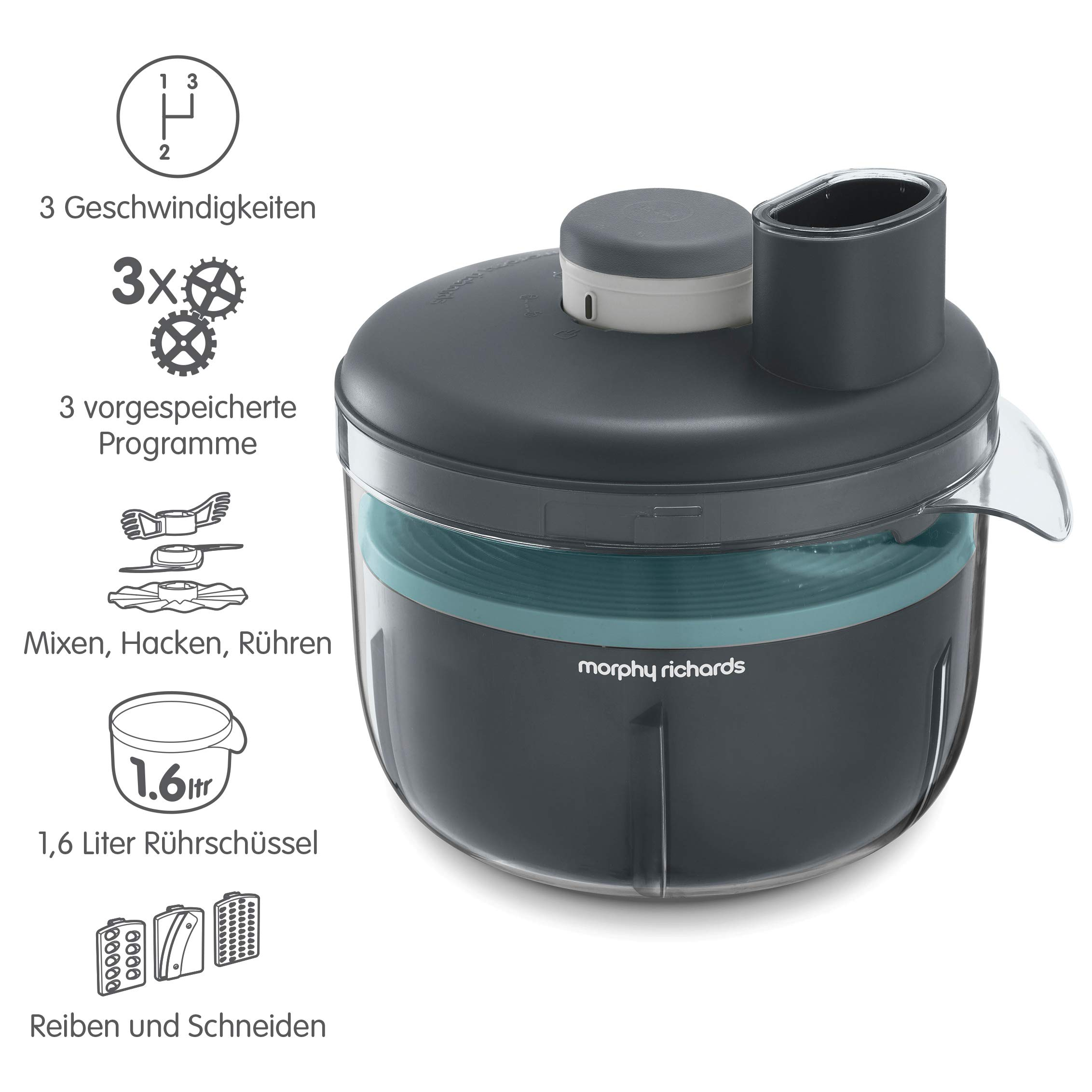 Morphy Richards 401014 Prepstar - Robot de cocina (4 l, capacidad de 1,6 L, 6 posiciones, sin BPA), color gris: Amazon.es: Hogar