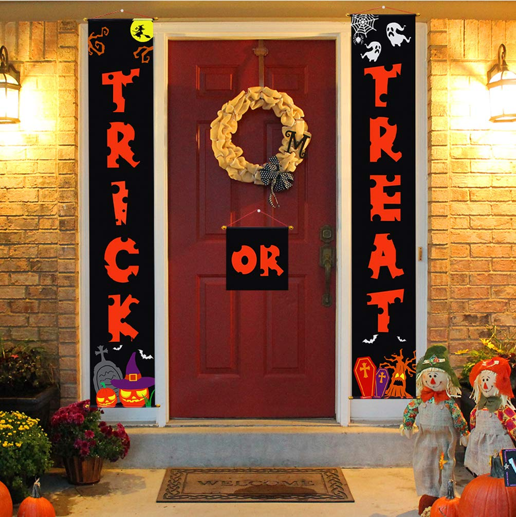 Halloween Decorations Door Banners for Trick or Treat Home fice Décor 3pcs – Ready to Hang