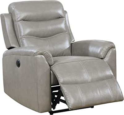 N-Voss AM9959684 Top Grain Leather Match Power Recliner with Tight Back and Seat Cushions in Gray Finish, 59684