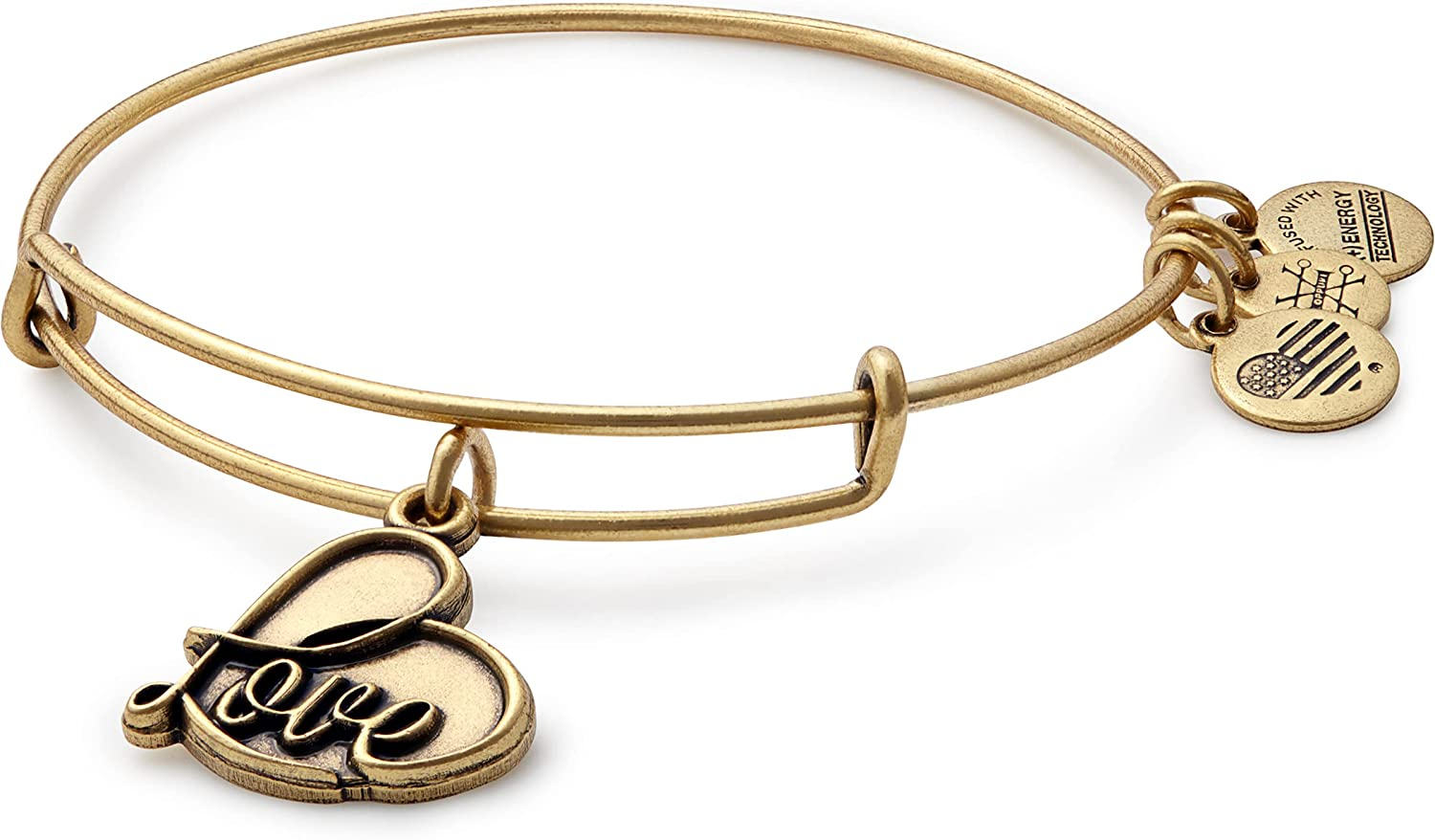 Alex and Ani Path of Symbols Expandable Bangle for Women, Love Charm, Rafaelian Finish, 2 to 3.5 in