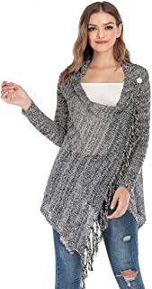 LUZAISHENG Slim Sequined Fringed Long Sweater Coat 2020 Fashion (Color : Dark Gray, Size : M)