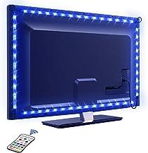 LED-stripverlichting, OMERIL 2,2 m / 7,2 ft USB-tv-achtergrondverlichting met 16 kleuren en 4 modi voor 40-60 inch HDTV / ...