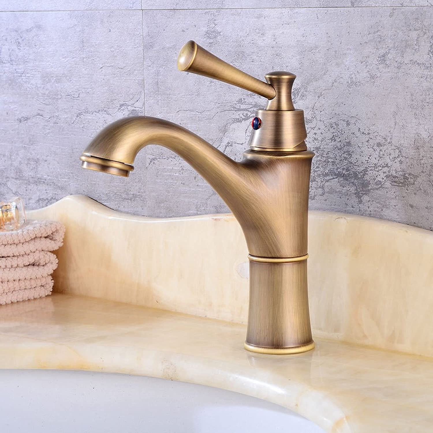 AQMMi Basin Sink Tap Bathroom Bar Faucet Antique Hot and Cold Water Retro Bathroom Basin Sink Faucet