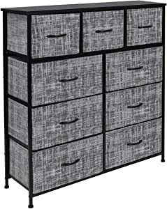 Sorbus Dresser with 9 Drawers - Furniture Storage Chest Tower Unit for Bedroom, Hallway, Closet, Office Organization - Steel Frame, Wood Top, Easy Pull Fabric Bins (Gray/Black)
