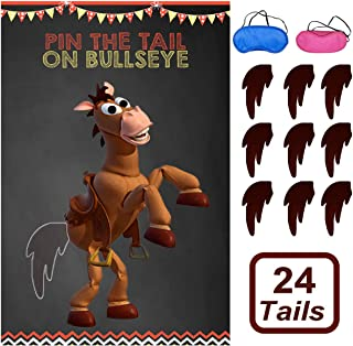 Toy Inspired Story Party Supplies, Pin The Tail On Bullseye Party Game Large Poster 24PCS Reusable Tails Sticker for Kids ...