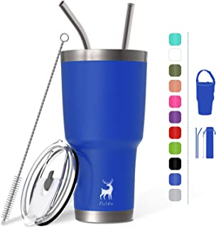 Slo Life 30 oz Tumbler Vacuum Insulated Double Wall Stainless Steel Coffee Cup with 2 Straws & Splash Proof Lip & Brush & Bag - Blue