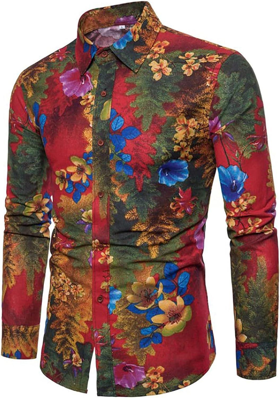 Mens Shirts Fashion Vintage Printed Blouse Casual Long Sleeve Button Down Shirt Hawaiian Dress Shirt for Men