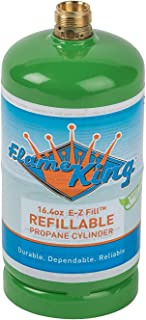 Flame King Refillable 1 lb Empty Propane Cylinder Tank - Reusable - Safe and Legal Refill Option - DOT Compliant-16.4 oz (2-Pack)