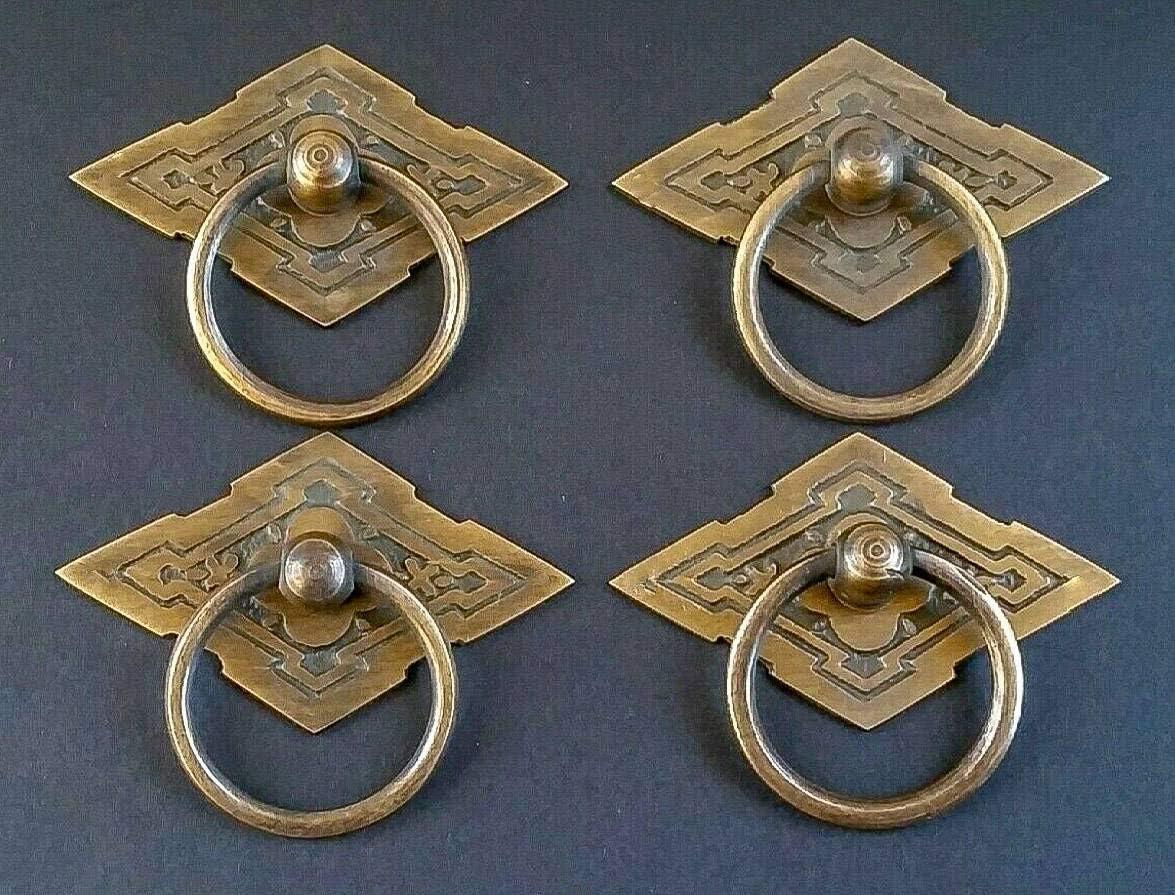 4 Eastlake Antique Style Brass Ornate Ring Pulls Handles 2-3/8