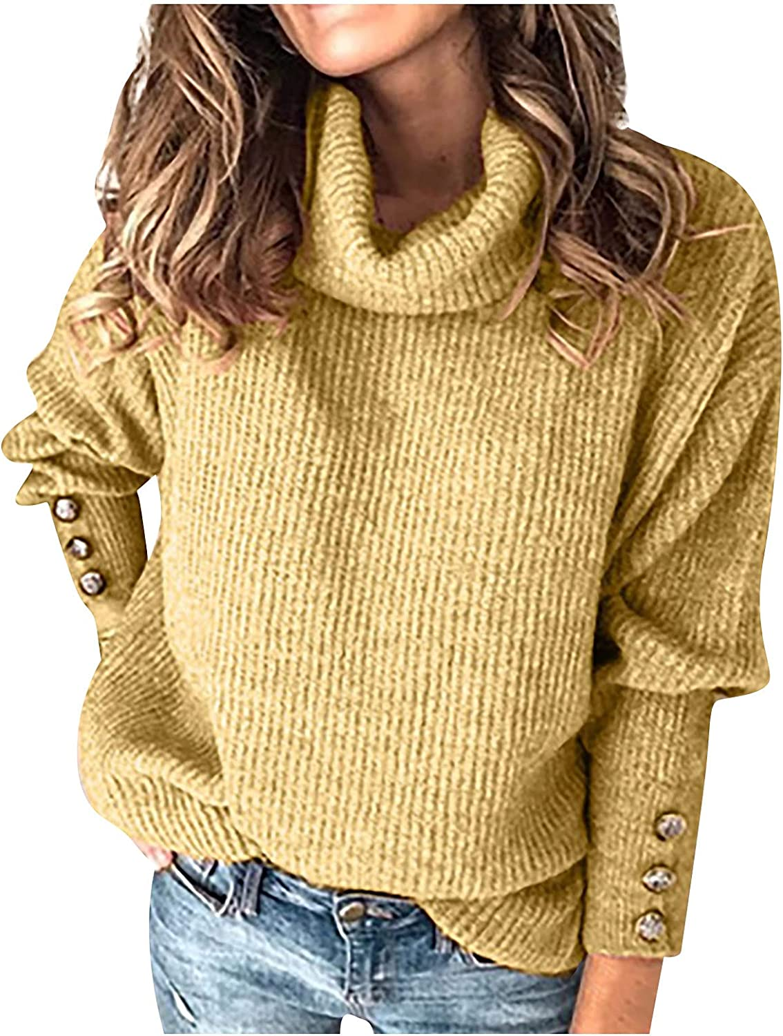 LEXUPA Sweaters Casual Long Women Turtleneck Pullover Button Long Sleeve Loose Knitted Sweater Tops