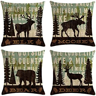 """Best MOMIKA Vintage Background Wildlife Elk Moose Bear Deer Pine Tree Forest Throw Pillow Covers Cotton Linen Pillowcase Cushion Cover Home Office Decor Square 18"""" X 18"""" Set of 4 Review"""