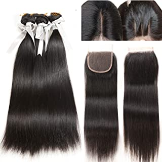 Straight Hair Bundle With Closure Malaysian Hair 3 Bundle With Lace Closure 4 pc Non Remy Human Hair Bundle with Closure,14 14 14 & Closure12,Middle Part