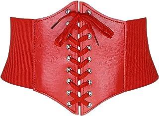 Ayliss Women Elastic Wide Band Tied Waspie Corset Waist Cincher Belt,Black