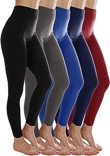 5-Pack Fleece Lined Leggings for Women Winter Warm Thermal Full Length Leggings
