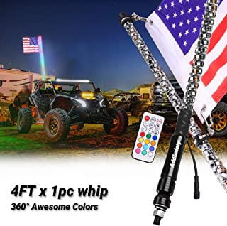 AddSafety 4FT RF Remote Control LED Whips Light With Dacning/Chasing Light with Hookup and American Flag For Off- Road Vehicle ATV UTV RZR Jeep Trucks Dunes