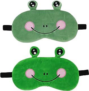 ZGMYC 2 Pack Funny Frog Soft Plush Sleeping Mask Cute Cartoon Blindfold Eye Cover Eyeshade for Kids Adults Travel Nap Slee...