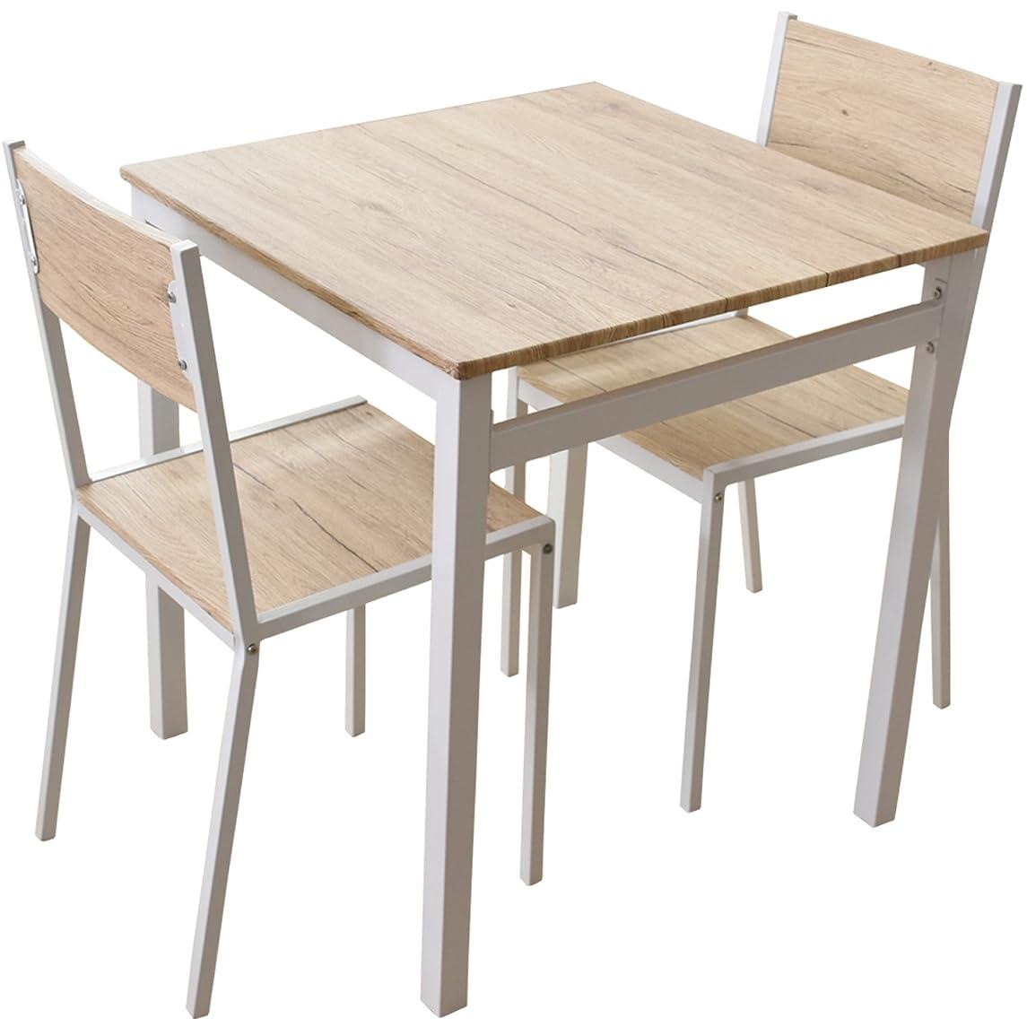 思いつく抑制曲げるDORIS ダイニングテーブル 2人用 3点セット 幅70 テーブル&チェア 組立式 ナチュラル スクエア
