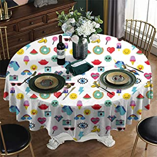 KFUTMD Printed Round Tablecloth Christmas Emoji Pop Art Style Cartoon Icons Unicorn Watermelon Banana Pixel Heart Thunder Bolt Eye Multicolor Outside Table Cloth Diameter 70