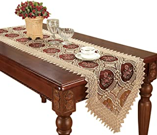 Simhomsen Vintage Gold Burgundy Lace Table Runner and Dresser Scarves Embroidered Floral 16 × 72 Inch