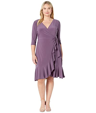 Kiyonna Whimsy Wrap Dress (Grape) Women