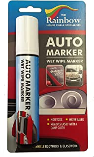 Car Paint Marker Pens Auto Writer White, Wide Tip, All Surfaces, Windows, Glass, Tire, Metal, Water Based Wet Erase Removable