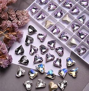 TPhaelay 32PCS 2021 New 3D Assorted Colors Heart Rhinestones Acrylic Gems Flat Back, Crooked Peach Nail Drill Rhinestones ...