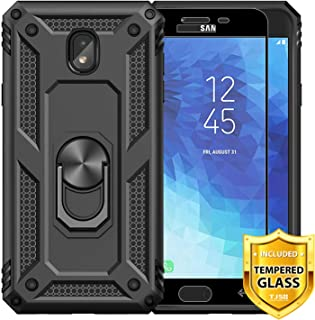 TJS Galaxy J7 2018/J7 Refine/J7 Star/J7 Eon/J7 TOP/J7 Aero/J7 Crown/J7 Aura/J7 V 2nd Gen Phone Case, [Full Coverage Tempered Glass Screen Protector][Defender][Metal Ring][Magnetic] (Black)