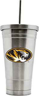 NCAA Missouri Tigers 17oz Double Wall Stainless Steel Thermo Tumbler with Straw