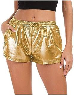 Andopa Women Straight Linen Shorts Leisure Elasticated Waistband PU Hot Pants