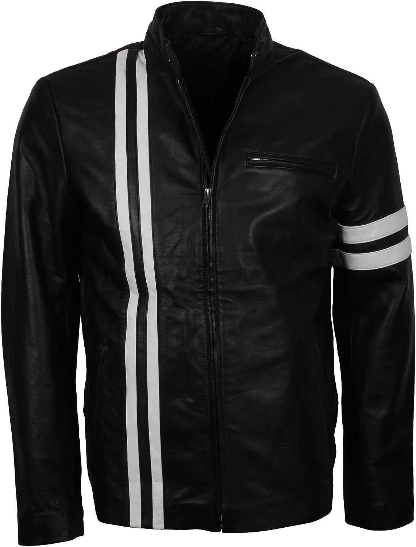 Black Retro with White Stripes Jacket Genuine Max Ranking TOP10 75% OFF Biker Leather