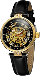 Forsining Women's Brand Analog Automatic Self-Winding Unique Watch with Leather Strap