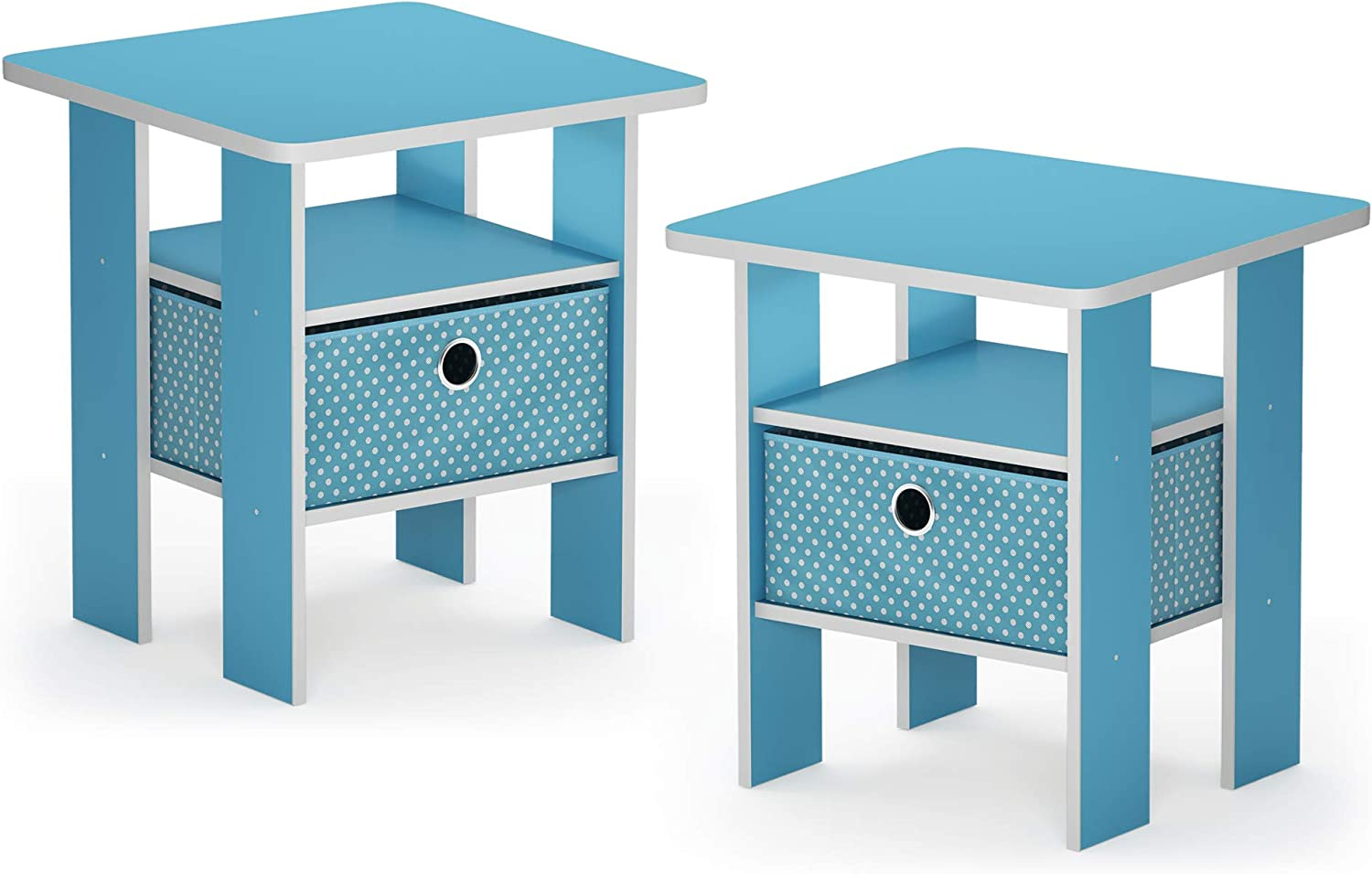 FURINNO 2-11157LBL Andrey 2-Pack Bin Drawer End Table Nightstand, Light bluee