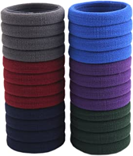 LiveZone 24-Pack High Elastic Boutique Rubber Bands Seamless Stretch Hair Ties Bands Rope Ponytail Holders Headband Scrunchie Hair Accessories for Ladies Women Girls DIY Hairstyle ,Blue Red & Purple