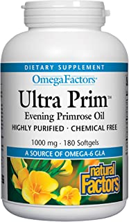 Omega Factors by Natural Factors, Ultra Prim Evening Primrose Oil, Promotes Women's and Immune Health with Omega-6 GLA, 180 softgels (180 servings)