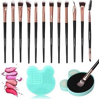 Unaone Eye Makeup Brushes 12pcs Eyeshadow Makeup Brushes Set Premium Synthetic Makeup Brush with 1 Wet & Dry Brush Cleaner for Eyeshadow, Eyebrow, Eyeliner, Blending, Black