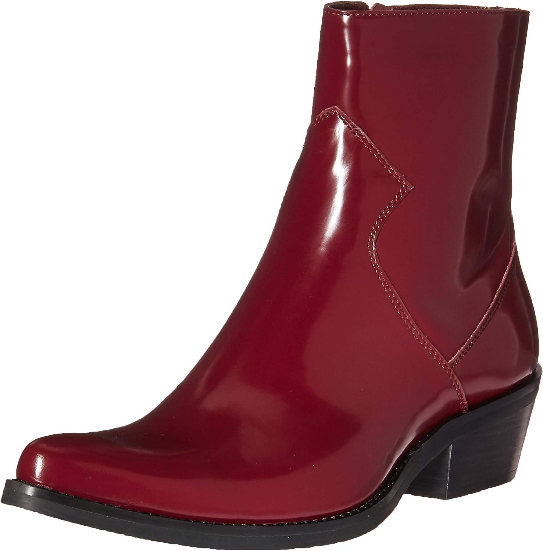 CK Jeans Men's Alden Ankle Boot, Dark Burgundy Box Calf Leather, 12 M US