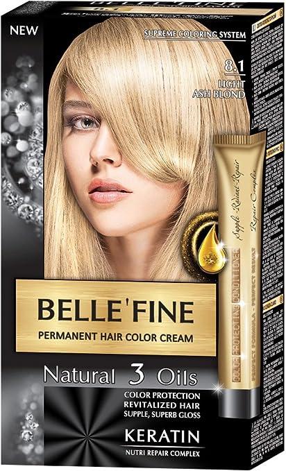 BELLEFINE® - Black Series - Tinte permanente natural - Con 3 aceites y queratina - Rubio ceniza claro