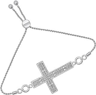 925 Sterling Silver Diamond Cross Religious Bolo Bracelets for Women (1/20Cttw, I2-J)