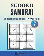 SUDOKU Samurai -  50 Rompecabezas - Nivel Fácil: Para Adultos Letra Grande Con Soluciones - Juego De Lógica - En nivel Fácil